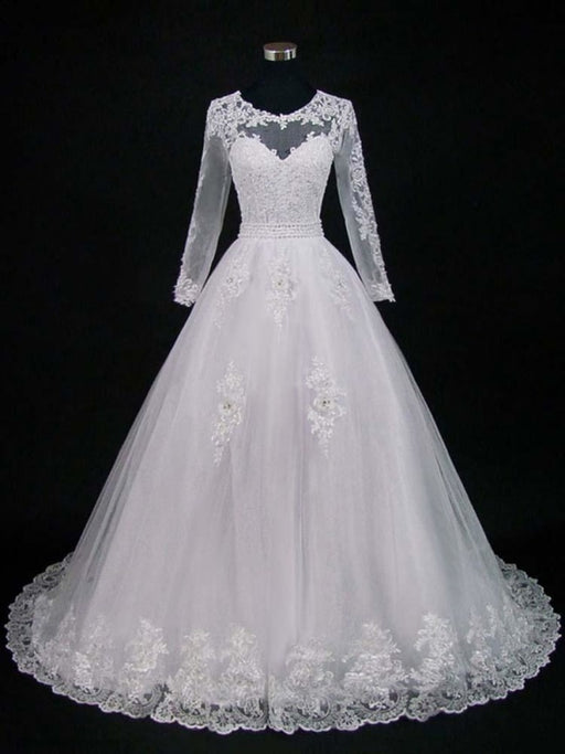Lace Appliques Pearls Long Sleeves Wedding Dresses - White / Floor Length - wedding dresses