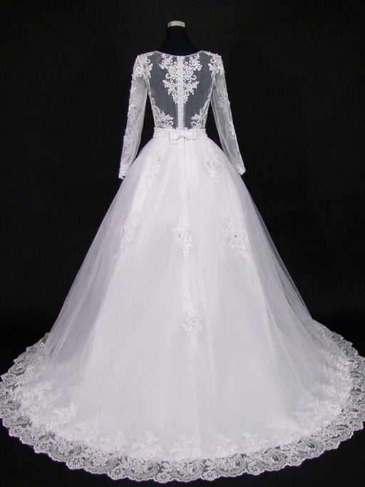 Lace Appliques Pearls Long Sleeves Wedding Dresses - wedding dresses