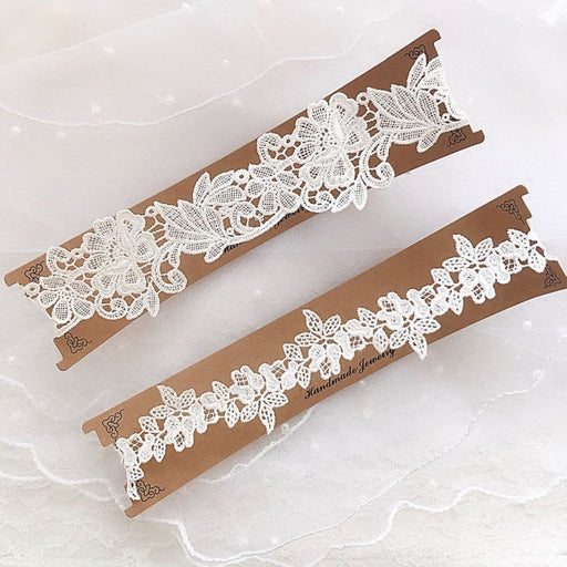 Lace Blue Embroidery Floral Wedding Garters | Bridelily - garters