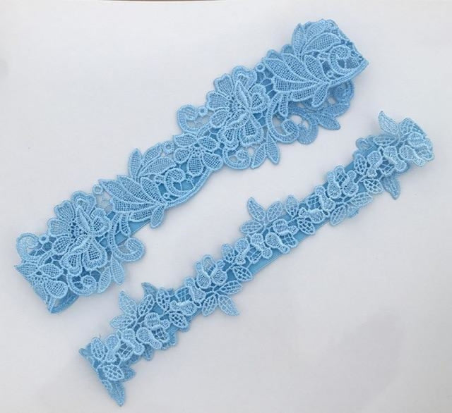 Lace Blue Embroidery Floral Wedding Garters | Bridelily - blue - garters