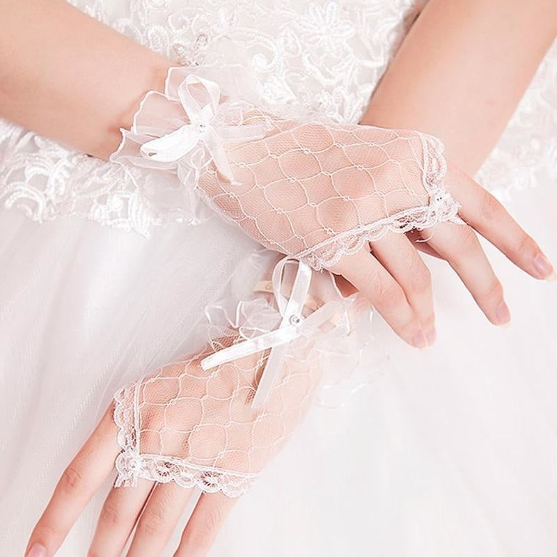 Lace Bowknot Fingerless Cheap Short Wedding Gloves | Bridelily - wedding gloves