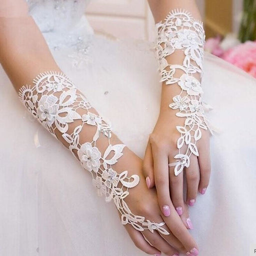 Lace Crystal Beaded Fingerless Wedding Gloves | Bridelily - wedding gloves