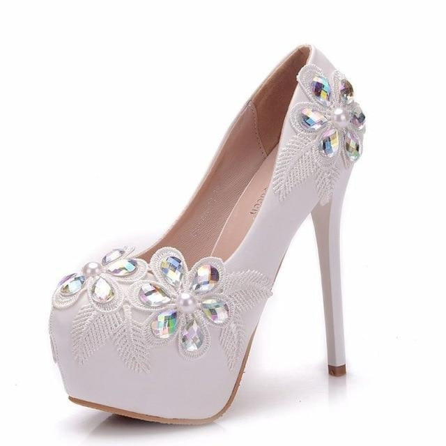 Lace Crystal High Heels Handmade Wedding Pumps | Bridelily - WHITE / 34 - wedding pumps