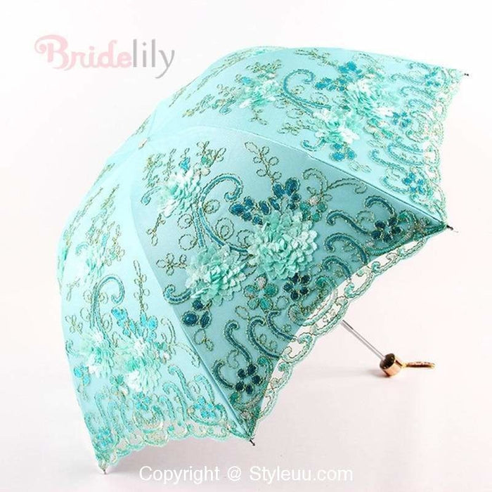 Lace Double Layer Flower Wedding Umbrellas | Bridelily - Green - wedding umbrellas