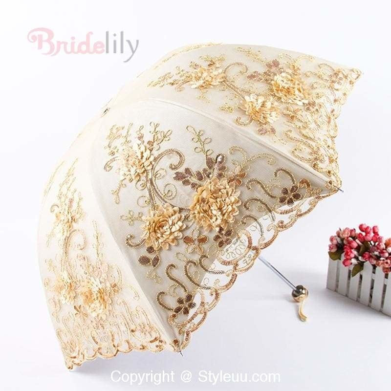 Lace Double Layers Cheap Wedding Umbrellas | Bridelily - Yellow - wedding sashes
