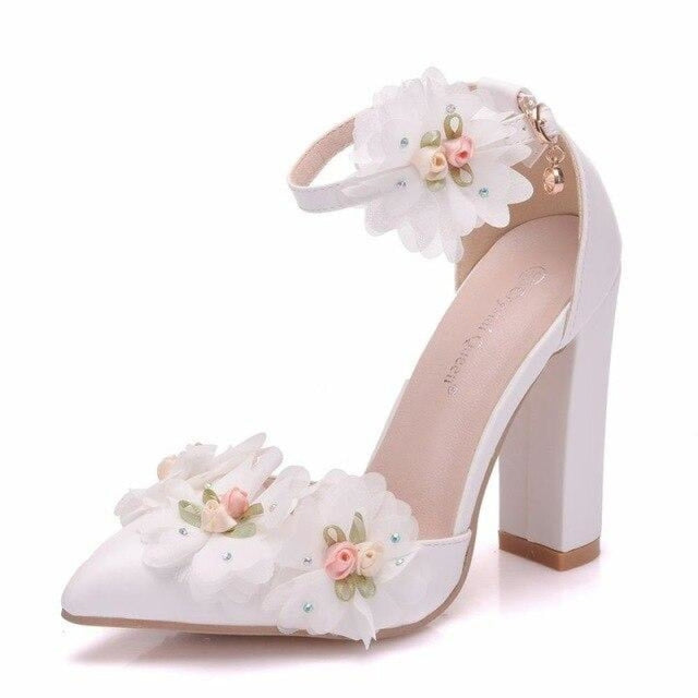 Lace Flower High Heel Wedding Sandals | Bridelily - white / 36 - wedding sandals