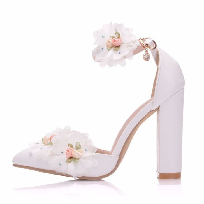 Lace Flower High Heel Wedding Sandals | Bridelily - wedding sandals