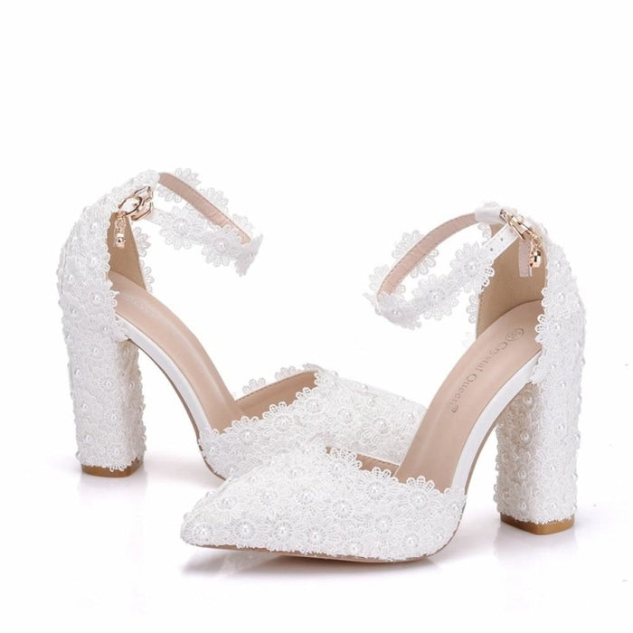 Lace Flower Pointed Toe Wedding Sandals | Bridelily - wedding sandals