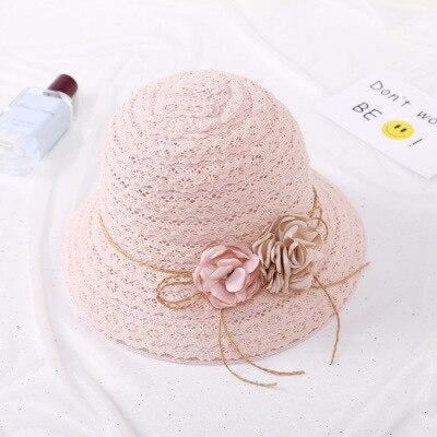Lace Flower Straw Rattan Weave Beach/Sun Hats | Bridelily - Child 2 - bowler/cloche hats