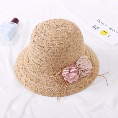 Lace Flower Straw Rattan Weave Beach/Sun Hats | Bridelily - Child 1 - bowler/cloche hats