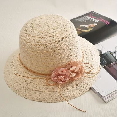 Lace Flower Straw Rattan Weave Beach/Sun Hats | Bridelily - Child - bowler/cloche hats