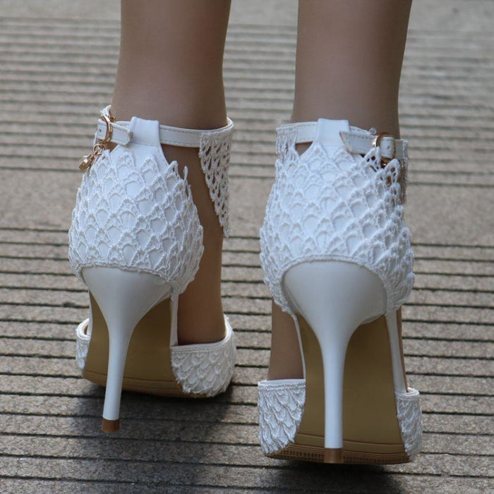 Lace Flower Tassel Handmade Wedding Sandals | Bridelily - wedding sandals