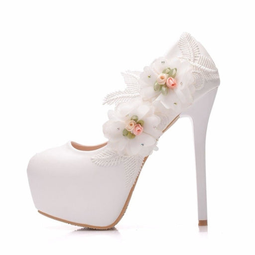 Lace Flowers High Heels Wedding Pumps | Bridelily - WHITE / 34 - wedding pumps