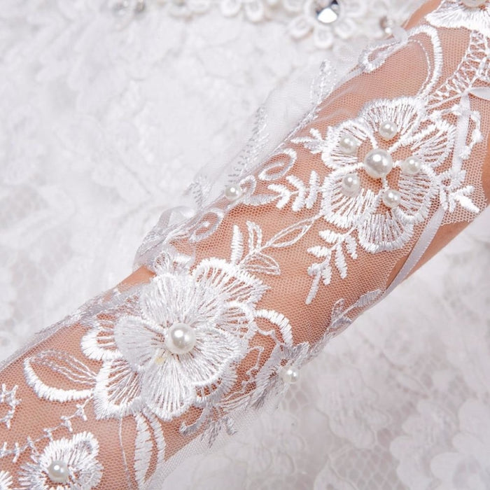 Lace Flowers Pearl Fingerless Wedding Gloves | Bridelily - wedding gloves