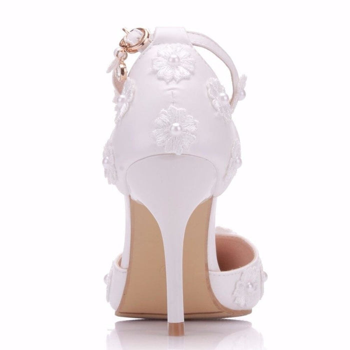 Lace High Heels Pointed Toe Wedding Sandals | Bridelily - wedding sandals