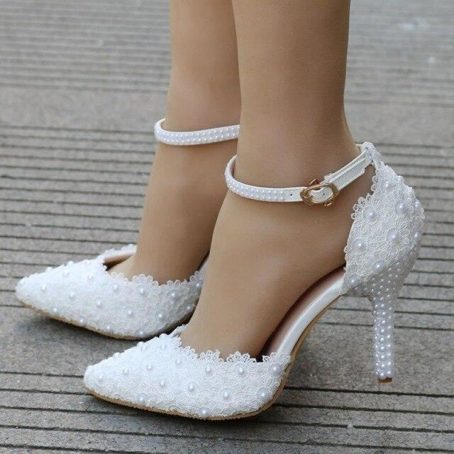 Lace High Heels Pointed Toe Wedding Sandals | Bridelily - white / 34 - wedding sandals