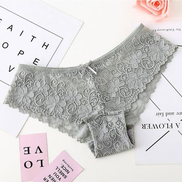 Lace High Quality Cotton Low Waist Panties | Bridelily - Gray / M - panties