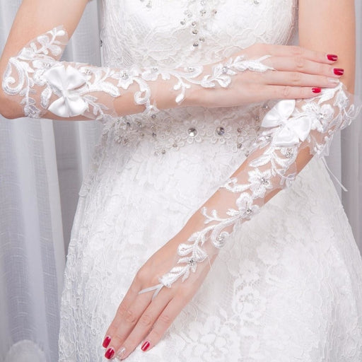 Lace Hollow-Out Delicate Lace Wedding Glove | Bridelily - wedding gloves