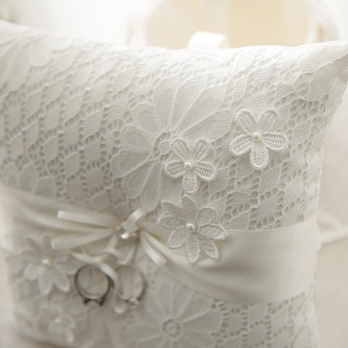 Lace Pearl Wedding Ivory Cushion Ring Pillows | Bridelily - ring pillows