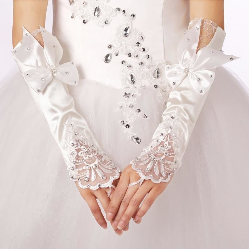 Lace Princess with beaded Long Design Wedding Glove | Bridelily - wedding gloves