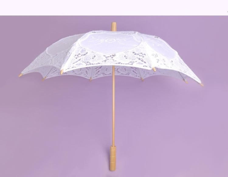 Lace Sunshade Handmade Wedding Umbrellas | Bridelily - White - wedding umbrellas