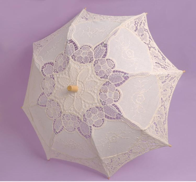 Lace Sunshade Handmade Wedding Umbrellas | Bridelily - Beige - wedding umbrellas
