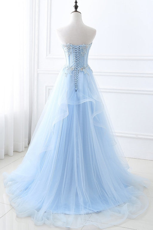 Lace-up Appliques Tulle Long A-line Prom Dress - Prom Dress