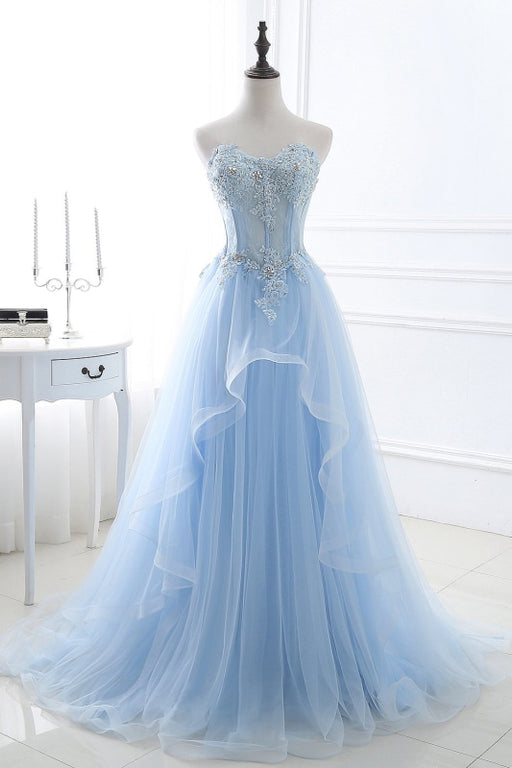 Lace-up Appliques Tulle Long A-line Prom Dress - As Picture / US 2 - Prom Dress