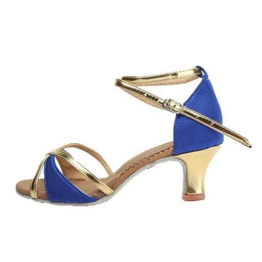 Lace-Up Gold Glitter Heeled Ballroom Dance Shoes | Bridelily - 5cm heels blue / 3.5 - ballroom dance shoes