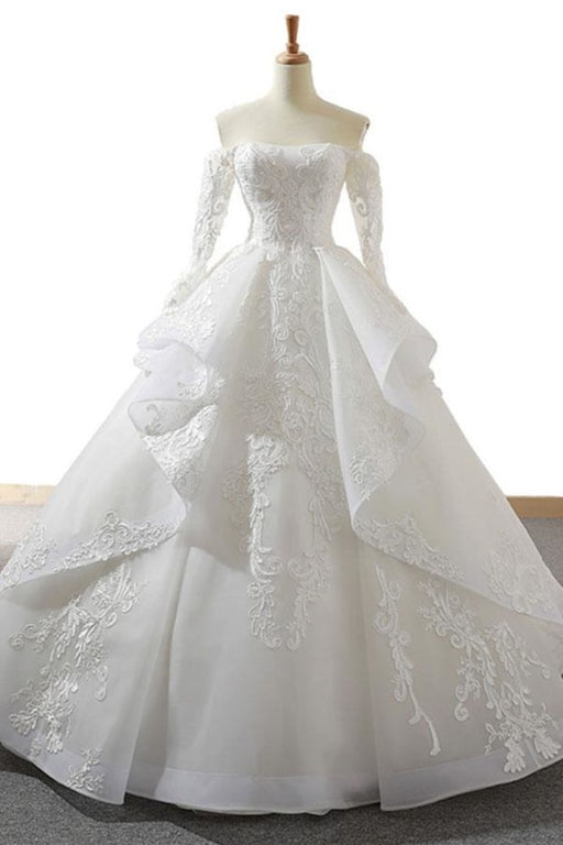 Lace-up Off Shoulder Long Sleeve Tulle Wedding Dress - Wedding Dresses