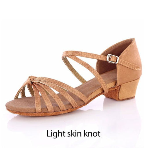 Lace Up Satin Square Low-Heel Latin Dance Shoes | Bridelily - Light skin knot / 5.5 - latin dance shoes
