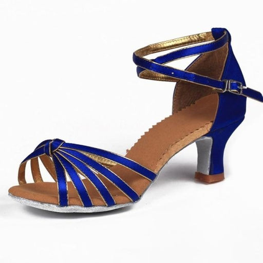 Lace-Up Soft Sole Buckle Ballroom Dance Shoes | Bridelily - 5CM Blue knot / 6 - ballroom dance shoes