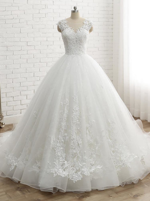 Lace-Up Tulle Ball Gown Wedding Dresses - White / 50cm - wedding dresses