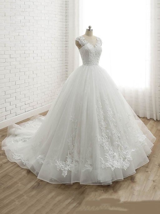 Lace-Up Tulle Ball Gown Wedding Dresses - wedding dresses