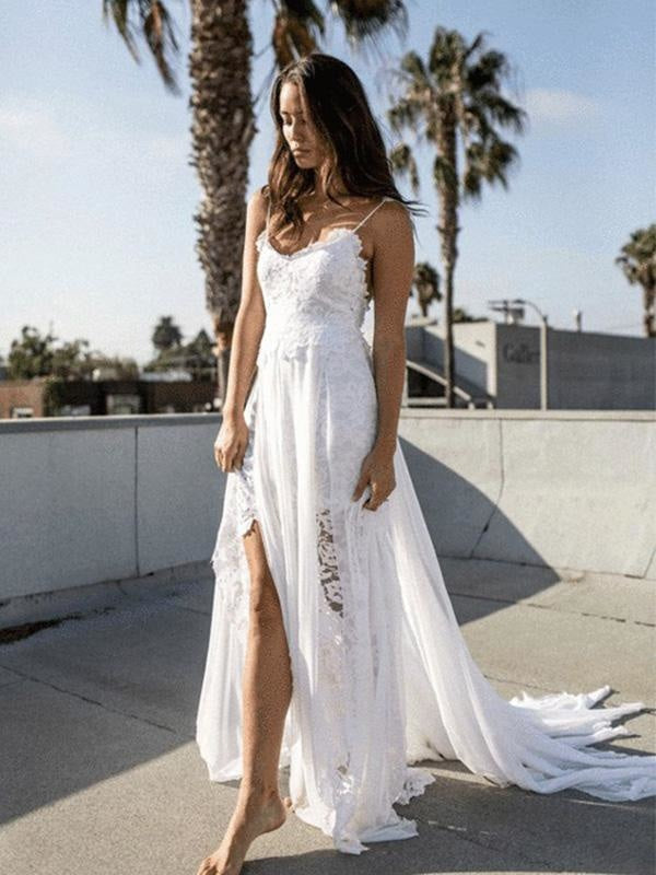 Spaghetti-Strap Backless Lace Bohemian Wedding Dresses - wedding dresses