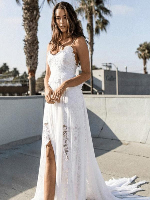 Spaghetti-Strap Backless Lace Bohemian Wedding Dresses - Ivory / Floor Length - wedding dresses