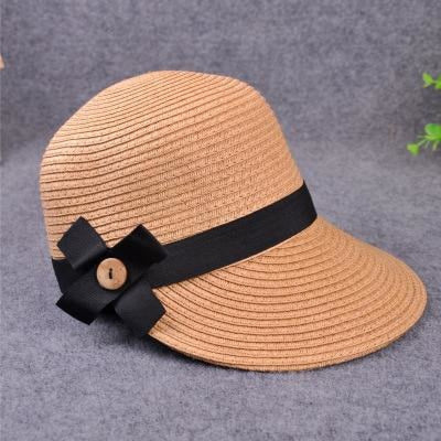Large Brim Straw With Bow Kentucky Derby Hats | Bridelily - light coffee - kentucky derby hats