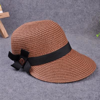 Large Brim Straw With Bow Kentucky Derby Hats | Bridelily - deep coffee - kentucky derby hats