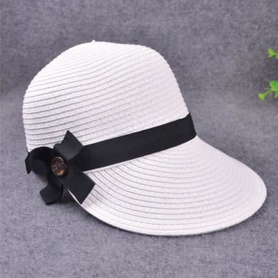 Large Brim Straw With Bow Kentucky Derby Hats | Bridelily - white - kentucky derby hats