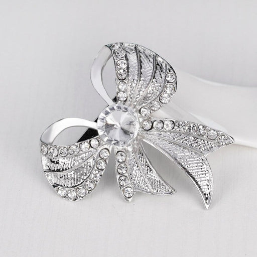 Large Crystal Bowknot Silver Wedding Brooches | Bridelily - brooches