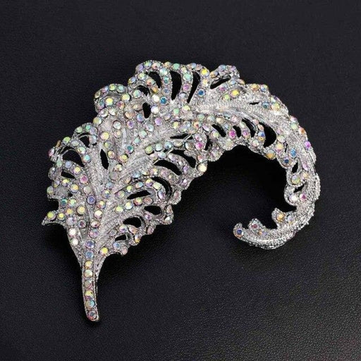 Large Crystal Feather Handmade Wedding Brooches | Bridelily - colorful stone - brooches