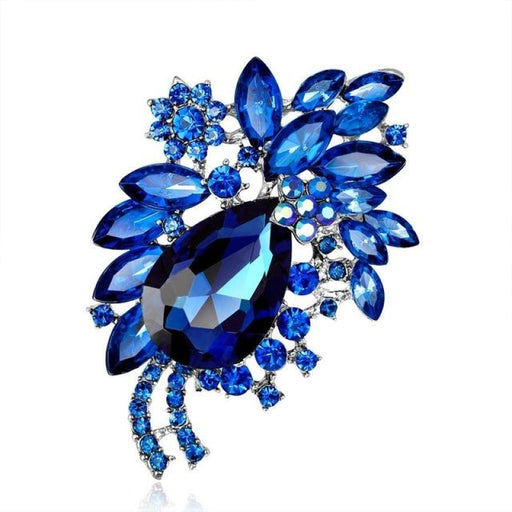 Large Flower Crystal Handmade Bridal Brooches | Bridelily - Navy Blue - brooches