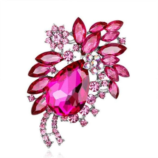 Large Flower Crystal Handmade Bridal Brooches | Bridelily - Hot Pink - brooches