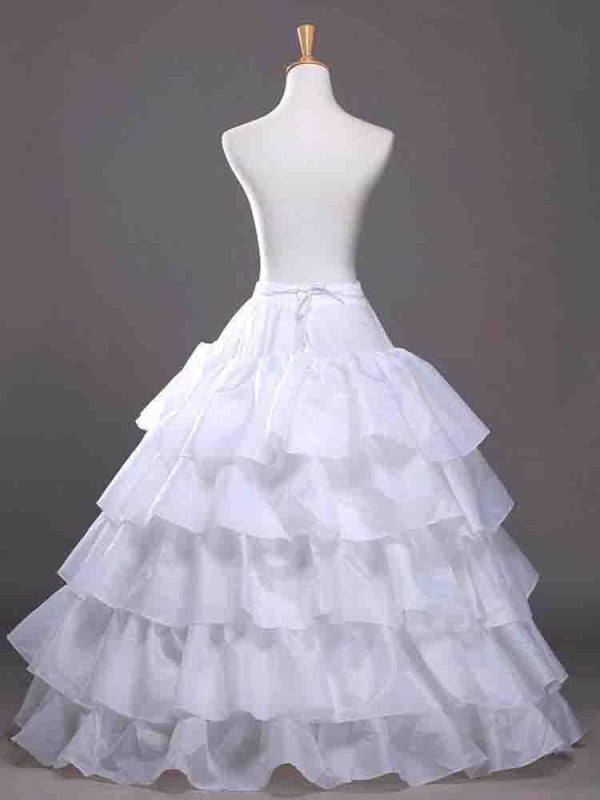Large Ruffle 4 Hoops Tulle Wedding Petticoats | Bridelily - CPA210 white - wedding petticoats
