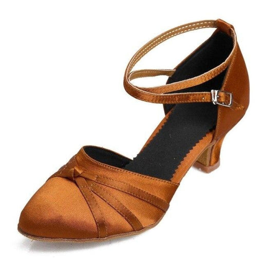 Latex Buckle Square Low Heeled Jazz Dance Shoes | Bridelily - brown / 3.5 - jazz dance shoes