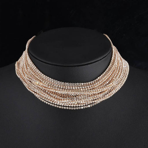 Layered Rhinestone Handmade Wedding Necklaces | Bridelily - Gold-color - necklaces