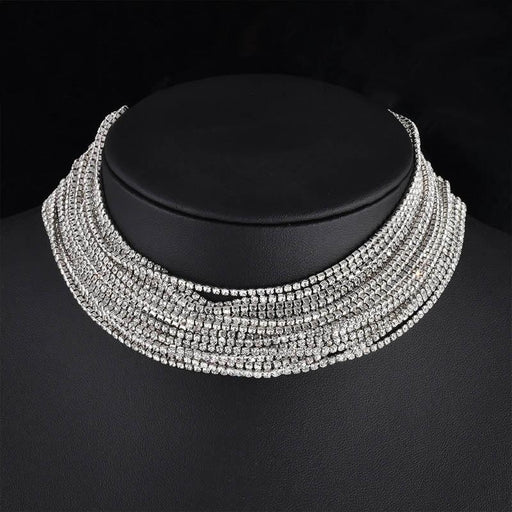 Layered Rhinestone Handmade Wedding Necklaces | Bridelily - Silver Plated - necklaces