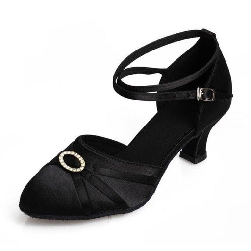 Leather Buckle Streamlined Latin Dance Shoes | Bridelily - 5cm heel black / 3.5 - ballroom dance shoes