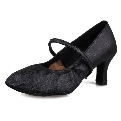 Leather Elastic Band Bonded Latin Dance Shoes | Bridelily - Black 7cm / 4.5 - latin dance shoes