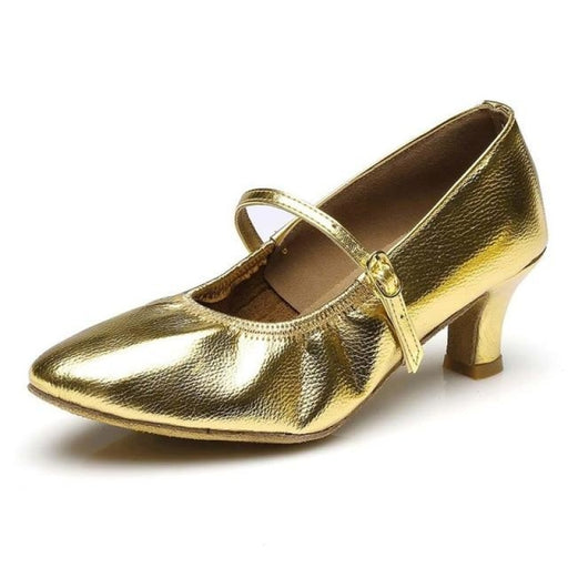 Leather Elastic Band Bonded Latin Dance Shoes | Bridelily - Gold 7cm / 4.5 - latin dance shoes